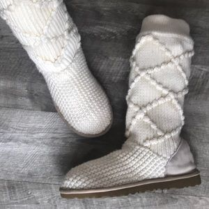 Ugg Argyle Cream Slipper Boot SZ 8
